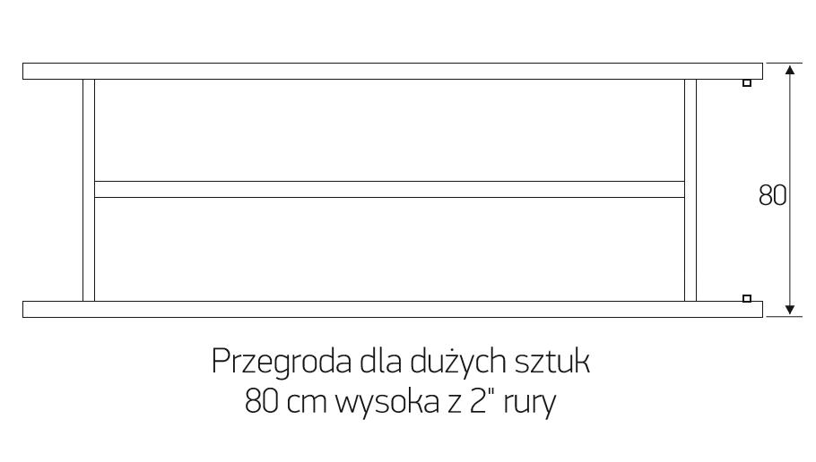 """Przegroda dla dużych sztuk 80 cm wysoka z 2"""" rury"""